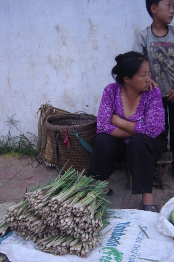 A local woman selling lemongrass in town market
